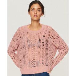 Ażurowy sweter - Różowy. Kardigany damskie marki bonprix. W wyprzedaży za 79.99 zł.