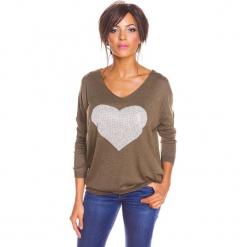 """Sweter """"Stef"""" w kolorze khaki. Brązowe swetry damskie So Cachemire, z kaszmiru, z okrągłym kołnierzem. W wyprzedaży za 165.95 zł."""
