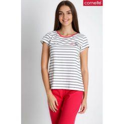 Piżama w marynarskie paski QUIOSQUE. Różowe paski damskie QUIOSQUE, z nadrukiem, z bawełny, z krótkim rękawem. W wyprzedaży za 59.99 zł.