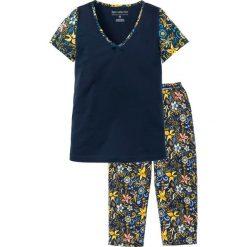 Piżama z krótkim rękawem i spodniami 3/4 bonprix ciemnoniebieski z nadrukiem. Piżamy damskie marki bonprix. Za 59.99 zł.