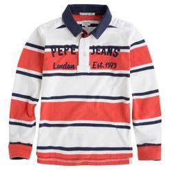 Koszulka polo w kolorze biało-pomarańczowym ze wzorem. T-shirty dla chłopców marki Reserved. W wyprzedaży za 129.95 zł.