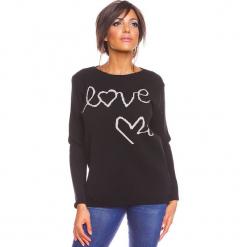 """Sweter """"Love"""" w kolorze czarnym. Czarne swetry damskie So Cachemire, z kaszmiru, z okrągłym kołnierzem. W wyprzedaży za 173.95 zł."""