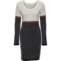 Sukienka dzianinowa bonprix kremowo-czerwono-czarny. Brązowe sukienki damskie bonprix, z dzianiny. Za 119.99 zł.