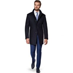 Płaszcz Granatowy Alexio. Niebieskie płaszcze męskie LANCERTO, z bawełny, klasyczne. W wyprzedaży za 499.90 zł.