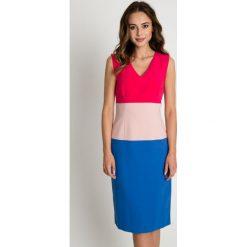 Sukienka w trzech kolorach BIALCON. Szare sukienki damskie BIALCON, na lato, wizytowe, dekolt w kształcie v, na ramiączkach. W wyprzedaży za 145.00 zł.
