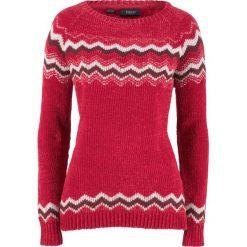 Sweter z szenili bonprix czerwony chili wzorzysty. Czerwone swetry damskie bonprix. Za 89.99 zł.