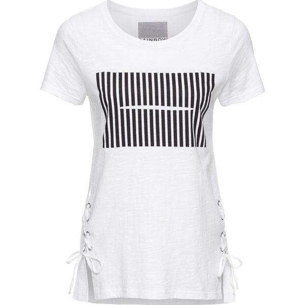 abfd60af8 T-shirt bonprix biały z nadrukiem - T-shirty damskie bonprix, z nadrukiem,  ze sznurowanym dekoltem. Za 37.99 zł. - T-shirty damskie - T-shirty i topy  ...