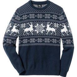Sweter w norweski wzór Regular Fit bonprix ciemnoniebieski. Swetry przez głowę męskie bonprix. Za 109.99 zł.