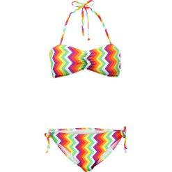 Bikini bandeau (2 części) bonprix zielono-biało-żółty wzorzysty. Białe bikini damskie bonprix. Za 69.99 zł.