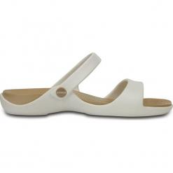 """Klapki """"Cleo"""" w kolorze biało-złotym. Białe klapki damskie Crocs. W wyprzedaży za 68.95 zł."""