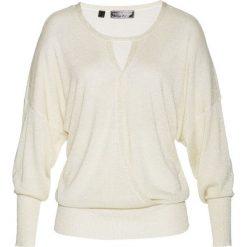 """Sweter """"nietoperz"""" z lureksową nitką bonprix biel wełny - złoty. Swetry damskie marki bonprix. Za 89.99 zł."""