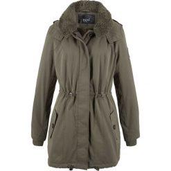 """Długa kurtka zimowa z kołnierzem """"barankiem"""" bonprix ciemnooliwkowy. Zielone kurtki damskie bonprix, na zimę. Za 239.99 zł."""