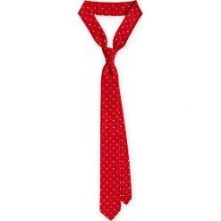 Krawat Czerwony wzór geometryczny. Czerwone krawaty i muchy LANCERTO, w geometryczne wzory, z mikrofibry, eleganckie. Za 79.90 zł.