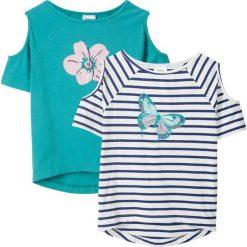 T-shirt z wycięciami na ramionach (2 szt.) bonprix niebieski w paski + zielony morski. T-shirty damskie marki bonprix. Za 59.98 zł.