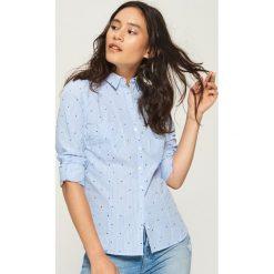 Bawełniana koszula z wzorem - Niebieski. Niebieskie koszule damskie Sinsay, z bawełny. Za 49.99 zł.