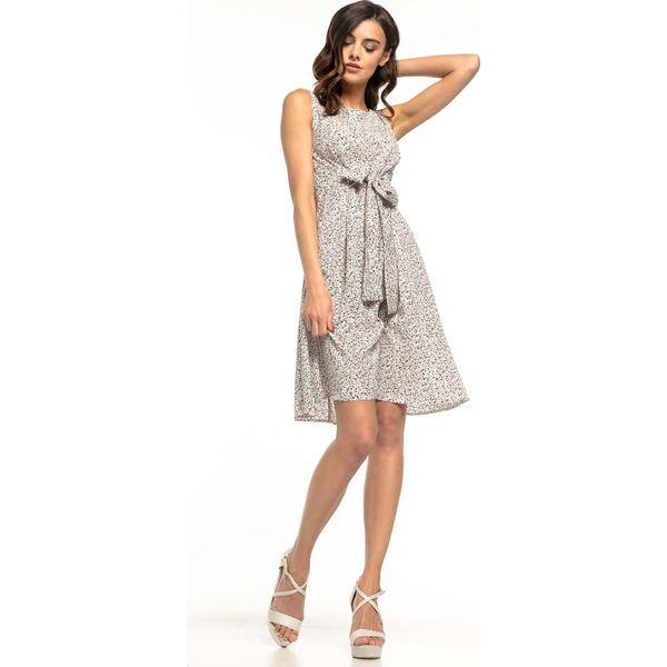 472015113b Sukienka w Drobne Kwiatki z Dekoracyjnym Wiązaniem - Sukienki ...