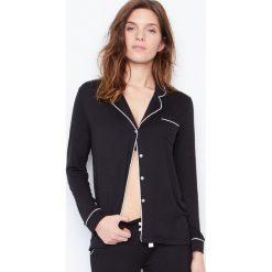 Etam - Koszulka piżamowa Waelle. Czarne piżamy damskie Etam, z elastanu. W wyprzedaży za 89.90 zł.