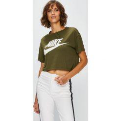 Nike Sportswear - Top. Szare topy damskie Nike Sportswear, z nadrukiem, z dzianiny, z okrągłym kołnierzem, z krótkim rękawem. Za 129.90 zł.