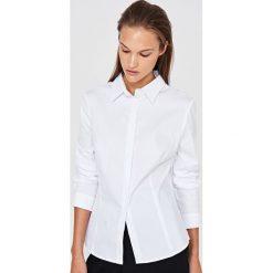 Simple - Koszula. Szare koszule damskie Simple, z bawełny, eleganckie, z klasycznym kołnierzykiem, z długim rękawem. Za 329.90 zł.