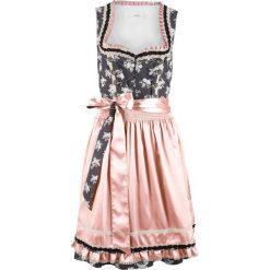 Sukienka ludowa z połyskującym fartuchem bonprix szary łupkowy z nadrukiem. Szare sukienki damskie bonprix, z nadrukiem. Za 319.99 zł.