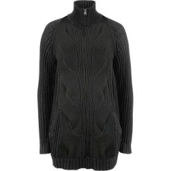 Sweter rozpinany w warkocze, z zamkiem bonprix czarny. Kardigany damskie marki KALENJI. Za 54.99 zł.