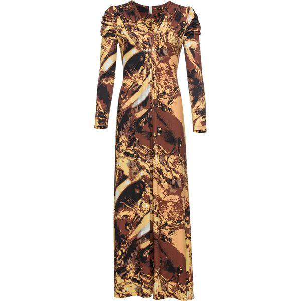 69c3e2803b Sukienka z długim rękawem bonprix żółto-brązowy wzorzysty - Sukienki ...