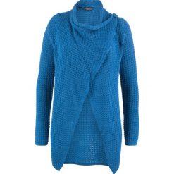 Sweter rozpinany w strukturalny wzór bonprix lazurowy. Niebieskie kardigany damskie bonprix. Za 99.99 zł.