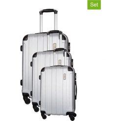 Zestaw walizek w kolorze srebrnym - 3 szt. Walizki męskie Platinium, z materiału. W wyprzedaży za 539.95 zł.