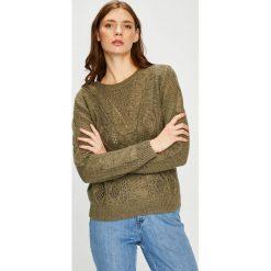 Jacqueline de Yong - Sweter. Szare swetry damskie Jacqueline de Yong, z bawełny, z okrągłym kołnierzem. W wyprzedaży za 99.90 zł.