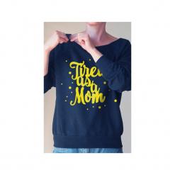 Tired as a mom bluza dla matek karmiących. Czarne bluzy damskie One mug a day, z nadrukiem, z bawełny. Za 159.00 zł.