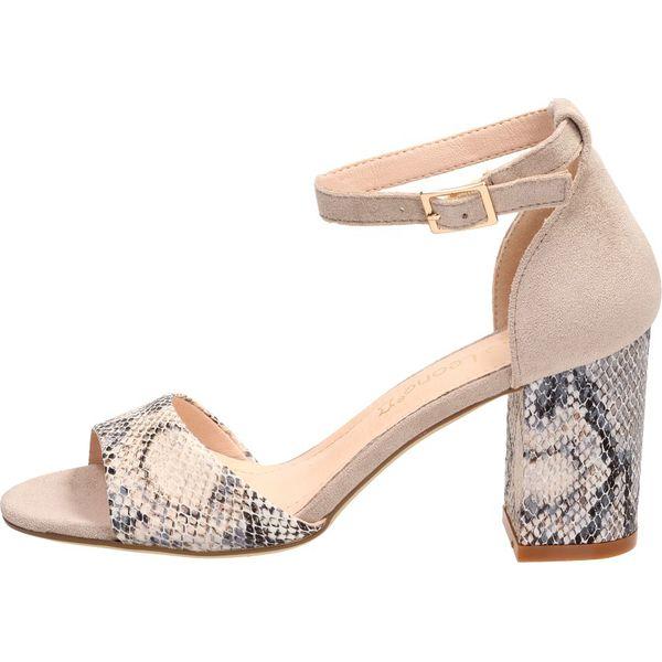 Obuwie damskie letnie sandały buty modne wygodne szary wąż Sergio Leone SK 873