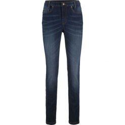 Dżinsy SKINNY z wygodnym paskiem bonprix ciemny denim. Niebieskie jeansy damskie bonprix. Za 99.99 zł.