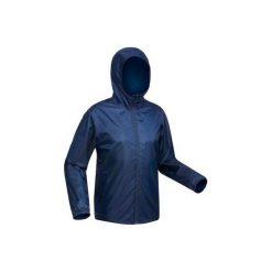 Kurtka turystyczna SH100 Warm męska. Niebieskie kurtki męskie QUECHUA, na zimę, z materiału. Za 79.99 zł.