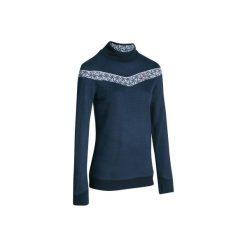 Sweter MID WARM 100. Białe swetry damskie WED'ZE, z materiału, ze stójką. W wyprzedaży za 39.99 zł.