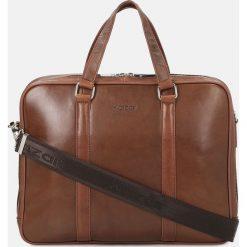 Brązowa torba męska. Brązowe torby na laptopa męskie Kazar, w paski, ze skóry. Za 749.00 zł.