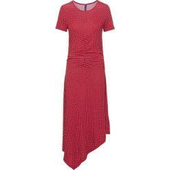 Sukienka shirtowa bonprix czerwony chili - biały w kropki. Czerwone sukienki damskie bonprix, w kropki, z asymetrycznym kołnierzem. Za 59.99 zł.
