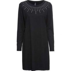 Sukienka dresowa ze sztrasami bonprix czarny. Czarne sukienki damskie bonprix, z aplikacjami, z dresówki. Za 89.99 zł.