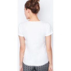 Etam - Top piżamowy. Szare piżamy damskie Etam, z nadrukiem, z bawełny. W wyprzedaży za 29.90 zł.