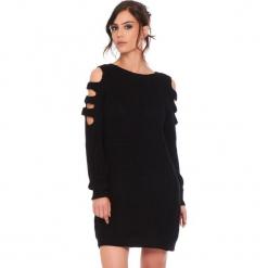 """Sukienka """"Leo"""" w kolorze czarnym. Czarne sukienki damskie Cosy Winter, ze splotem, z okrągłym kołnierzem, z długim rękawem. W wyprzedaży za 159.95 zł."""
