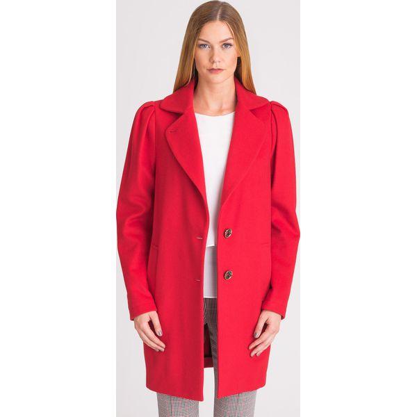 Echo elegancki czerwony płaszcz trencz midi z ozdobnym kołnierzem, na jesień