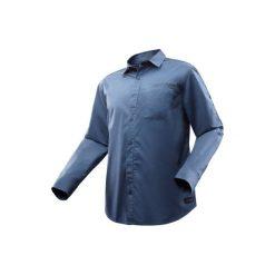 Koszula TRAVEL 500 modul męska. Brązowe koszule męskie FORCLAZ, z długim rękawem. Za 99.99 zł.