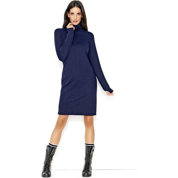 f6087e994e Granatowa Prosta Klasyczna Sukienka z Golfem - Sukienki damskie ...