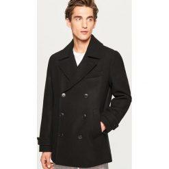 Krótki płaszcz z wełną - Czarny. Czarne płaszcze męskie Reserved, z wełny. Za 279.99 zł.