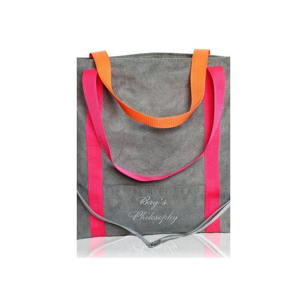 209f00b507604 Szara torebka pomarańczowy różowy pasek - Torebki do ręki damskie ...