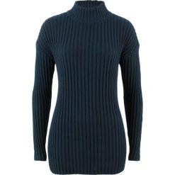 Sweter bawełniany ze stójką bonprix ciemnoniebieski. Niebieskie swetry damskie bonprix, z bawełny, ze stójką. Za 69.99 zł.