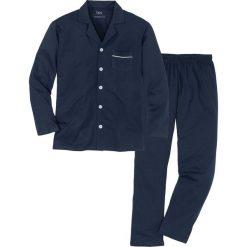 Piżama z dżerseju w dopasowanym fasonie bonprix ciemnoniebieski. Niebieskie piżamy męskie bonprix, z dżerseju. Za 79.99 zł.