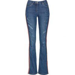"""Dżinsy ze stretchem i ozdobnym paskiem bonprix niebieski """"stone"""". Niebieskie jeansy damskie bonprix. Za 109.99 zł."""