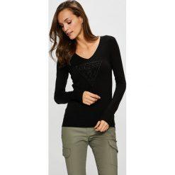 Guess Jeans - Sweter. Brązowe swetry damskie Guess Jeans, z dzianiny. Za 319.90 zł.