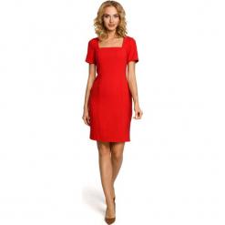 Czerwona Elegancka Ołówkowa Sukienka z Dekoltem Karo z Krótkim Rękawem. Czerwone sukienki damskie Molly.pl, eleganckie, z dekoltem karo, z krótkim rękawem. Za 125.90 zł.