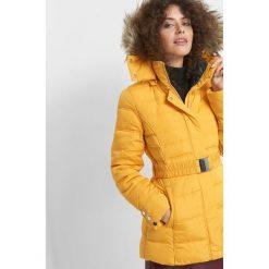 Puchowa kurtka z kapturem. Żółte kurtki damskie Orsay, w paski, z elastanu. Za 349.99 zł.